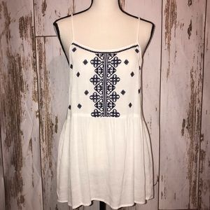 White embroidered Flowy tank